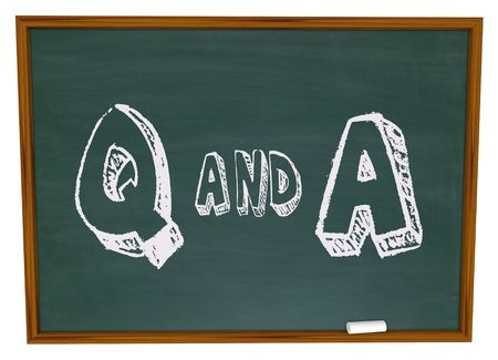 q and a chalkboard