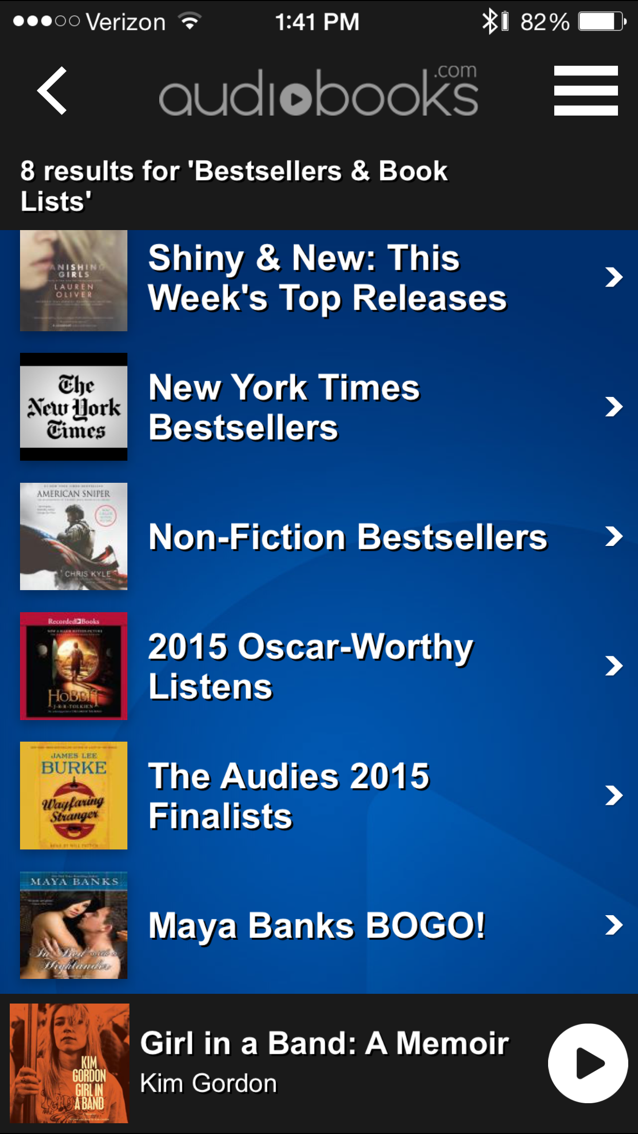 Audiobooks.com Spotlight categories