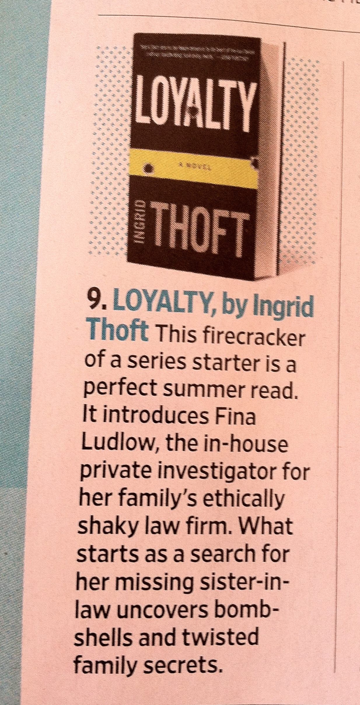 Loyalty by Ingrid Thoft EW Must List