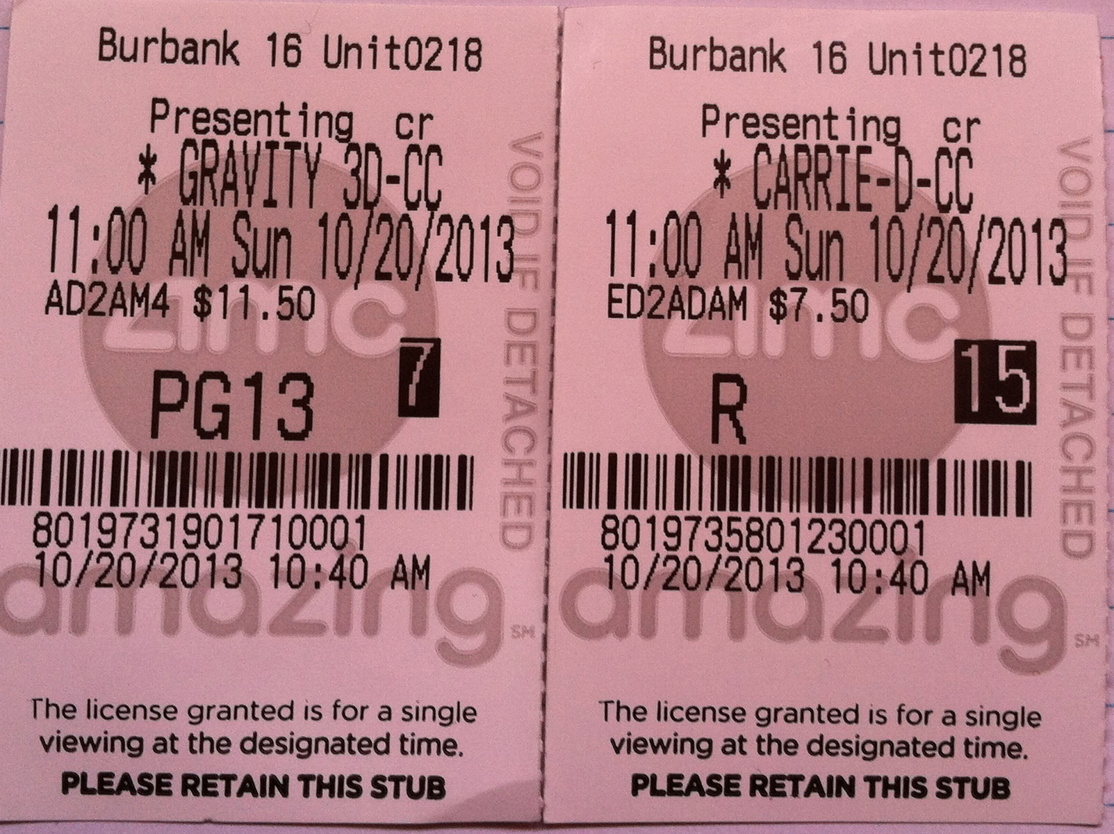 carrie gravity ticket stubs