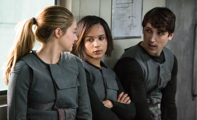 Tris (Shailene Woodley), Christina (Zoe Kravitz) and Will (Ben Lloyd-Hughes) Photo: Summit Entertainment