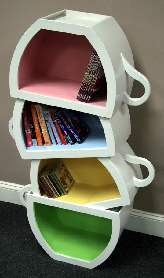 tea cup bookcase